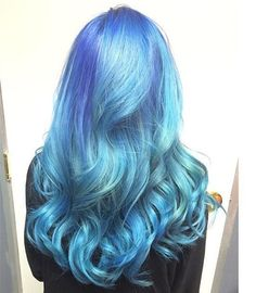 Wonderful ombre hair color of pastel blue, green and purple, nice mermaid hair style~ want to try it