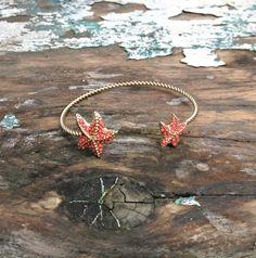 Starfish Bracelet - Gold with Coral Beads $14.00! www.ellieandbea.com