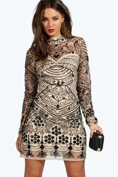 Long Sleeve Embellished Bodycon High Neck Dress 4ufashion.eu