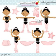 Ballerina Positions Brunette Cute Digital Clipart - Commercial Use OK - Ballerina Clipart, Ballerina Graphics, Toddler Dance, Toddler Ballet, Baby Ballet, Baby Ballerina, Ballerina Shoes, Ballet Terms, Dance Positions, Tutu Party, Cute Girl Drawing