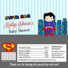 Superhero Baby Shower Party Candy Bar Wrapper Party Favor