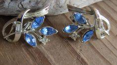 Vintage BLUE RHINESTONE CORO Earrings by CreativeWorkStudios, $12.00