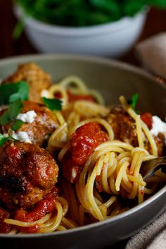 3-meat  Ricotta Meatballs in Tomato sauce on Spaghetti #recipe #pasta