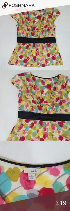"""Odille Anthropologie Blouse Floral pink/yellow 8 Odille by Anthropologie women's blouse. Size 8. Short/cap sleeve. Side zipper. Multi-color floral print. 100% Cotton. Length: 24""""  Chest: 17"""" Sleeve: 4"""". In good used condition. A908 p Anthropologie Tops Blouses"""