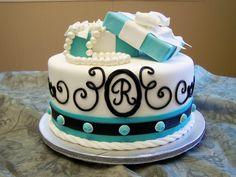 grad cake tiffany inspired,