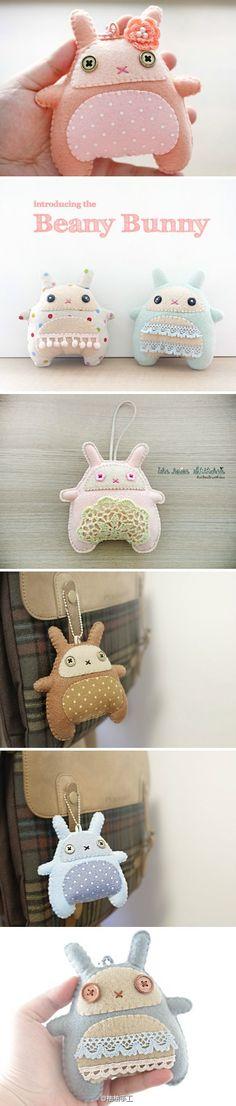 要是有这么粉嫩的布布,一定要做个小兔子挂在书包上!