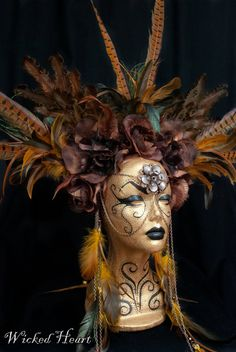 Hey, I found this really awesome Etsy listing at http://www.etsy.com/listing/102456925/brown-roses-and-feather-headdress-made