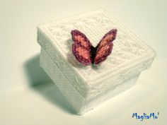butterfly embellished box - plastic canvas