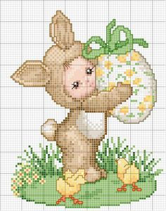 Bunny baby with Easter egg. Color pattern