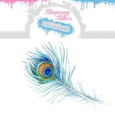 Peacock Feather Temporary Tattoo Blue by HilliaryCustomLiving