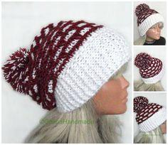 Christmas  Cable Chunky Hand Knit Santa  Slouchy by GalinaHandmade
