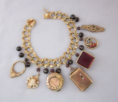 Repurposed Antique Victorian Charm Bracelet - One of a Kind Jewelry Designs by JryenDesigns