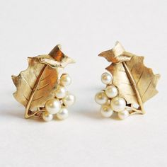 Vintage Crown Trifari Goldtone Etched Leaf Motif Earrings w/ Faux Pearls - Mid Century Costume Jewelry - Clip-on Earrings - 1950s to 1960s