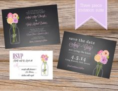 Chalkboard Mason Jar Wedding Invitation Suite ~ Includes Invitation, RSVP Card, Save The Date ~ Use coupon code PINTEREST15 at checkout for 15% off of your total order! Peonies Floral Bouquet