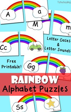 Free Rainbow Alphabet Puzzles  - Toddler and Preschool Educational Printable Activities
