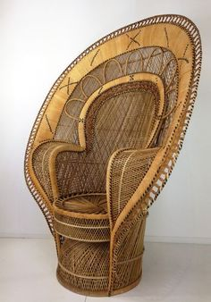 View this item and discover similar for sale at - Sculptural and monumental (the only one with this scale!) Emmanuelle wicker and French armchair from the in incredible state of conservation. Brown Furniture, Rattan Furniture, Bedroom Furniture, Conservation, Wicker Armchair, French Armchair, Peacock Chair, Mid Century Chair, Faux Bamboo