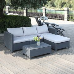 Portfolio Aldrich Grey 5-piece Wicker Indoor/Outdoor Sectional and Table with Reversible Ottoman - Overstock™ Shopping - Big Discounts on PORTFOLIO Dining Sets