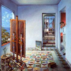 El taller (1979) Guillermo Pérez Villalta. Interesante obra que centra los puntos de interés en la zona izquierda sobre todo, y en la derecha, sugeriendo la refleión del artista que tiene que observar su obra desde la lejanía para contemplarla con mayor objetividad.