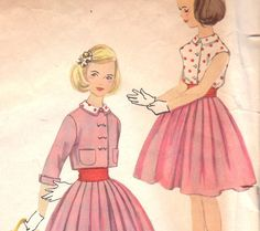 Girls 1950s Flared Skirt, Blouse & Cropped Jacket Pattern Simplicity 2431 Size 10