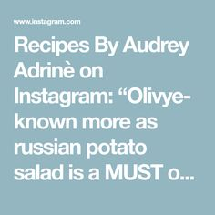 """Recipes By Audrey Adrinè on Instagram: """"Olivye- known more as russian potato salad is a MUST on holiday table not only in Russia but all countries that once were in Soviet Union.…"""" Russian Potato Salad, Holiday Tables, Soviet Union, Holiday Recipes, Countries, Salads, Potatoes, Instagram, Potato"""