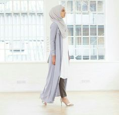 Ash Grey Straight Cut Trousers + Pale Blue Long Shirt | @inayahc
