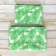 Green Palm Tree Leaves Zipper Pouch Gold by LittleMissPoBean