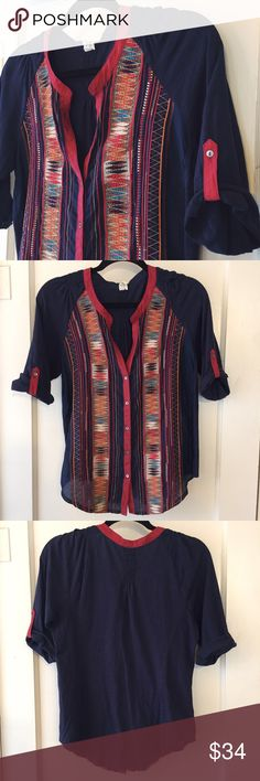 Anthropologie Embroidered Button-down by Tiny Cotton with silk trim. Incredible detail on this top. 3/4th sleeve with button-tab closures. Excellent condition! Freshly steamed and ready for wear. Anthropologie Tops Blouses