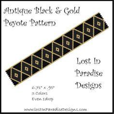 Antique Black  Gold Peyote Bracelet Pattern