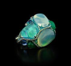 Arunashi Opal Sapphire Emerald and Diamond Ring
