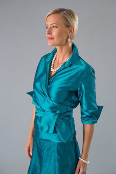 Teal pure silk - Such an elegant outfit for the modern Mother of the Bride or Mother of the Groom.  The Pansy Skirt and Classic Wrap Shirt are pure silk and available in many other colour combinations.  Visit our website to browse our collection www.livingsilk.com #livingsilk #motherofthebridedresses #motherofthegroomdresses #puresilk #celebrateinsilk