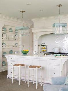 Coastal kitchen with aqua accents