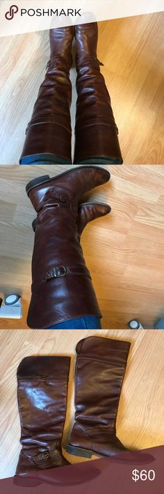 Well loved Frye knee high brown riding boots Oh how I love these boots. They were my absolute favorite pair, but after losing weight, my feet unexpectedly shrunk and now why're too big. Gorgeous whiskey brown leather, knee high riding style, with straps at front ankles. These are definitely well loved, but still have plenty of life left. All wear is shown in photos, please ask any questions you may have! Size 7.5, these are true to size. Frye Shoes