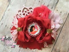 Princess Elena of Avalor Inspired Stacked Boutique Bow, Girls Hairbows, The works, OTT Bows