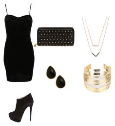 """""""Gold and Black formal outfit"""" by lauren-parker012345 on Polyvore featuring Pilot, Giuseppe Zanotti, WithChic, Michael Kors, Alexander McQueen, Natasha Accessories, women's clothing, women's fashion, women and female"""