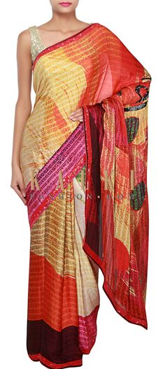 Buy Online from the link below. We ship worldwide (Free Shipping over US$100) http://www.kalkifashion.com/multi-color-saree-adorn-in-alphabet-print-only-on-kalki.html