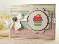Stamps: Create a Cupcake  Paper: Whisper white, crumb cake,  Ink: Early Espresso, Embossing Powders  Accessories: mix and match on board, ribbon, pearls, brads, stitching