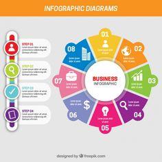 Infografía de negocios con diferentes pasos Vector Gratis