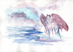 Pink purple pegasus horse original watercolor 9 x 12 magical
