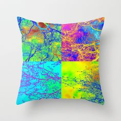 Trees in london - red pink blue green yellow purple orange rainbow collage Throw Pillow by Cathy Jacobs - $20.00