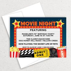 Printable Backyard Movie Night Party Invitation Movie Night