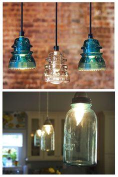 Antique Insulator Pendant Lights and Blue Mason Jar Lights