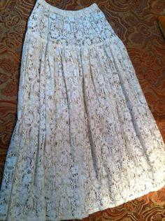 New TIAR LOS ANGELES Boho Lace Crochet Long White Cotton Festival Skirt SZ M  $29.99