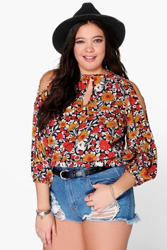 Plus Anna Floral Open Shoulder Blouse