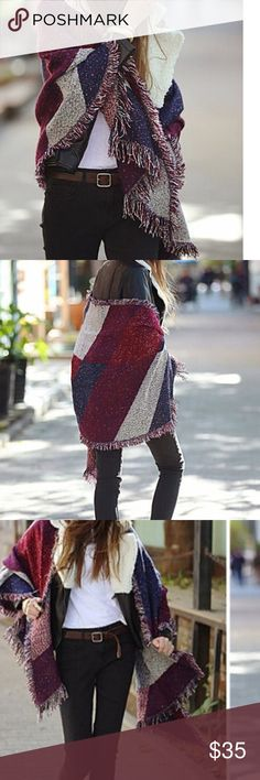 """Blanket Shawl Cape Wrap - Wine/blue/gray Wrap yourself up in this warm, soft, cozy acrylic blanket shawl in color blocks of wine (burgundy), navy blue & gray. Can be worn on either side. One size fits all. Approx. Width 35.4"""" Length 80.7"""" Hand wash cold, drip dry. New w/o tags, unbranded. Jackets & Coats Capes"""