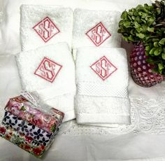 "MATOUK monogrammed ""Guest House"" towels at www.bestmonogram.com"