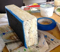 My due date was two days ago, but I'm not complaining since I only just finished my final nursery craft project yesterday: a pair of bookends made from bricks. Like other craft projects, this… Painted Bricks Crafts, Brick Crafts, Painted Rocks, Diy Craft Projects, Craft Tutorials, Fun Crafts, Craft Ideas, Decor Ideas, Arte Bar