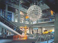 "The Hoberman Sphere once hung above the ""Invention Floor"" in the original building."