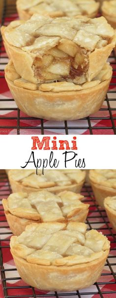 Super easy mini apple pies with a gooey, flavorful filling that everyone will love! These adorable little pies are super easy to make and the filling is so delicious. Apple Recipes, Fall Recipes, Sweet Recipes, Baking Recipes, Dessert Recipes, Baking Desserts, Muffin Pan Recipes, Mini Pie Recipes, Dessert Ideas