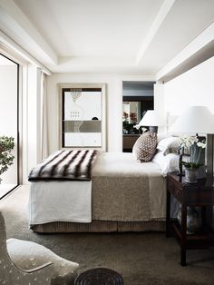 Working with tones as opposed to colour is an easy recipe for a restful bedroom, as seen here in the [high-rise home of interior designer Thomas Hamel](http://www.homestolove.com.au/a-high-rise-haven-in-sydney-4268). *Photo: Anson Smart*