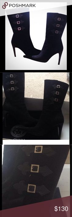 Suede boots Versace black suede boots. Preloved, signs of wears mostly on bottom of shoes and tip but not noticeable when wearing. Suede is in good condition. Comes with box and dust bag. Offers accepted Versace Shoes Heeled Boots